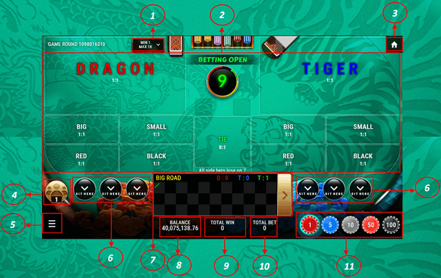 SBOTOP Live Casino  Dragon Tiger Multiplayer UI Interface