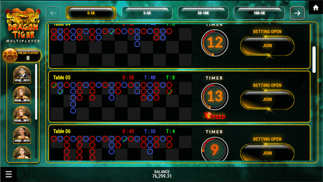 SBOTOP Live Casino  Dragon Tiger Multiplayer Lobby