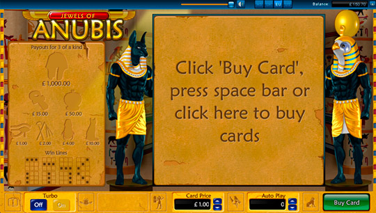 Jewels of Anubis Entry Screen