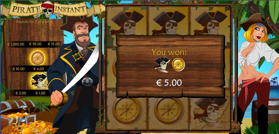 Pirate Instant Win Message