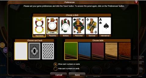 Sette e Mezzo Entry Screen