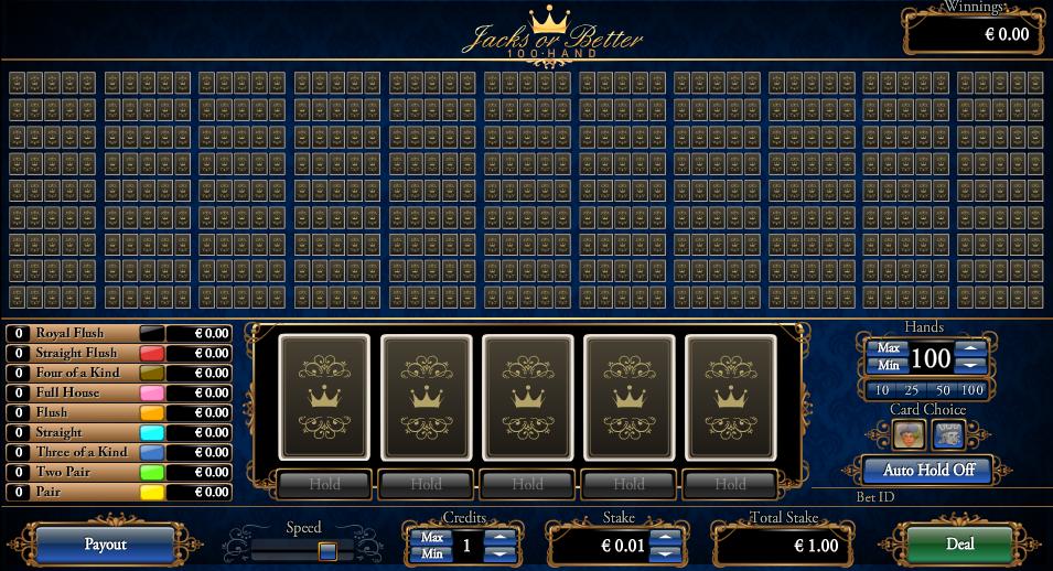 Jacks or Better 100 Hand Entry Screen