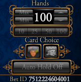 Jacks or Better 100 Hand Control Buttons 2