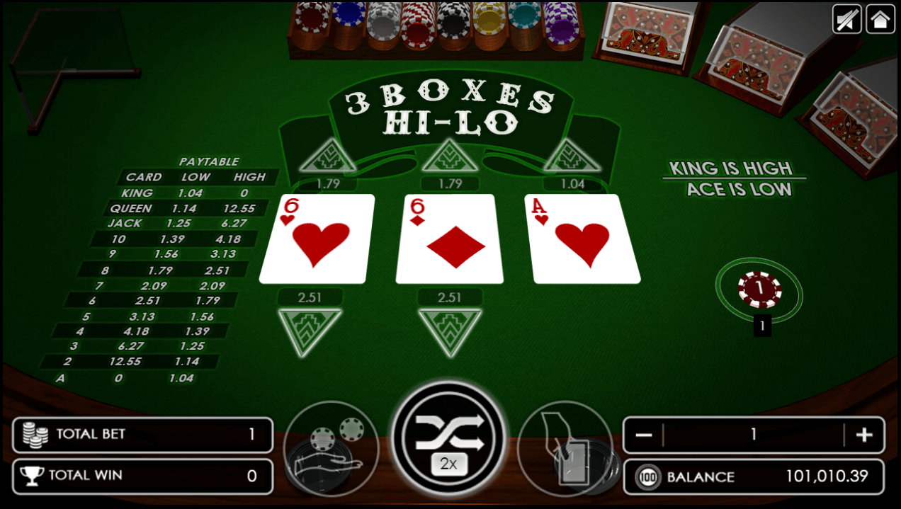 Three Boxes Hi-Lo game after dealing three cards.png