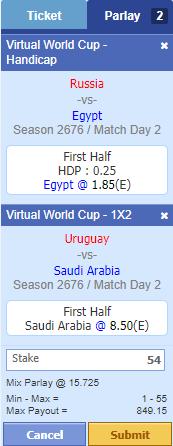 Virtual Football Parlay Ticket