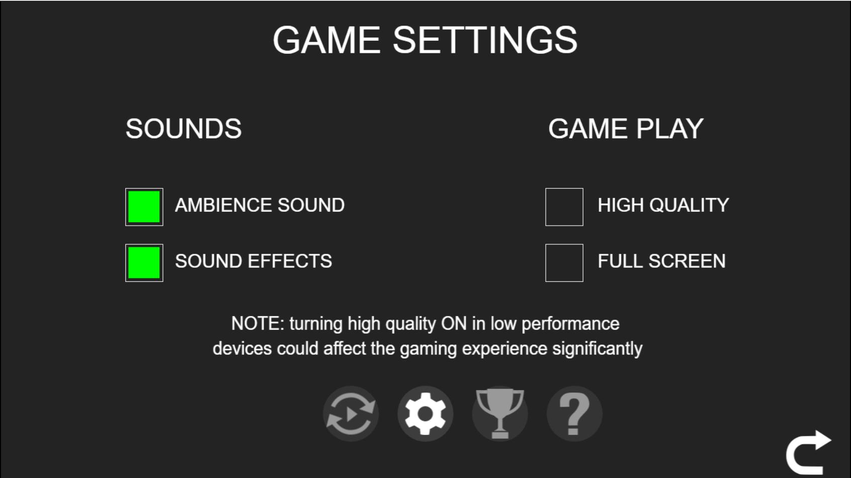 Sharknado mobile game settings.png