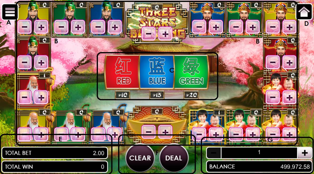 Three stars blessing game user interface