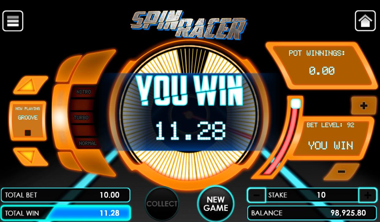 Spin Racer game winning flier