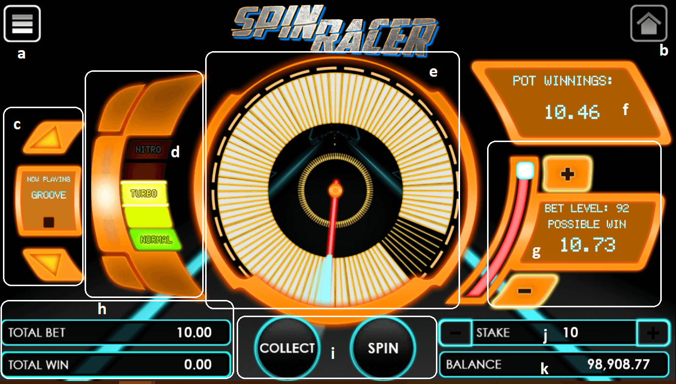Spin Racer game user interface