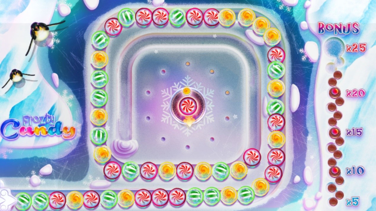 Frozty candy game in the Bonus game screen