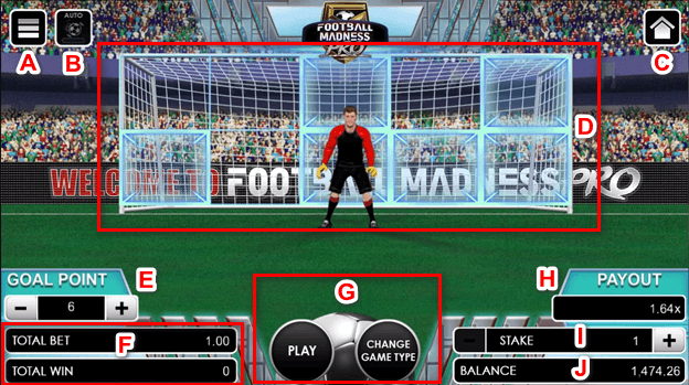Football Madness Pro Penalty kick interface