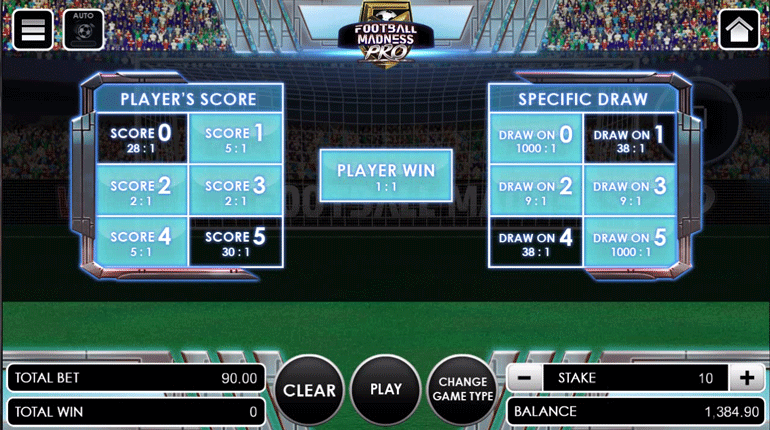Football Madness Pro Shootout betting option selected
