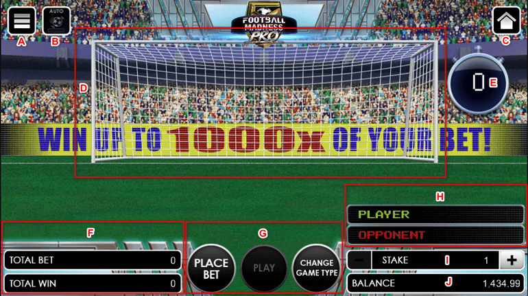 Football Madness Pro Shootout game interface