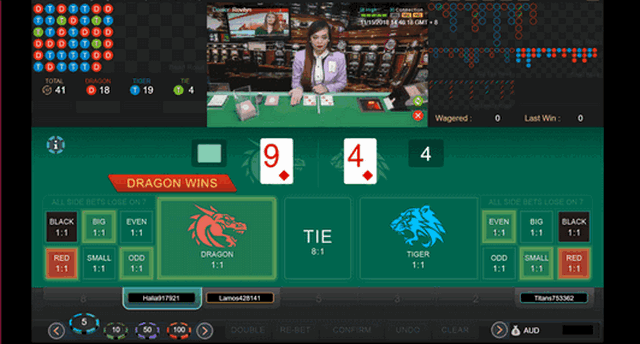 SBOTOP 라이브 카지노 - Live Dealer Dragon Tiger Gaming Screen