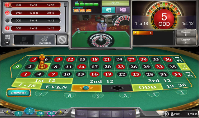 SBOTOP Live Casino Roulette Table