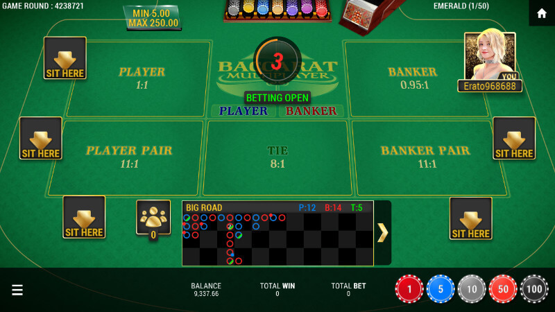SBOBET Casino Games - Baccarat Multiplayer Game UI