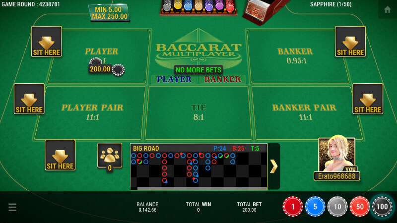 SBOBET Casino Games - Baccarat Multiplayer Placing Bets