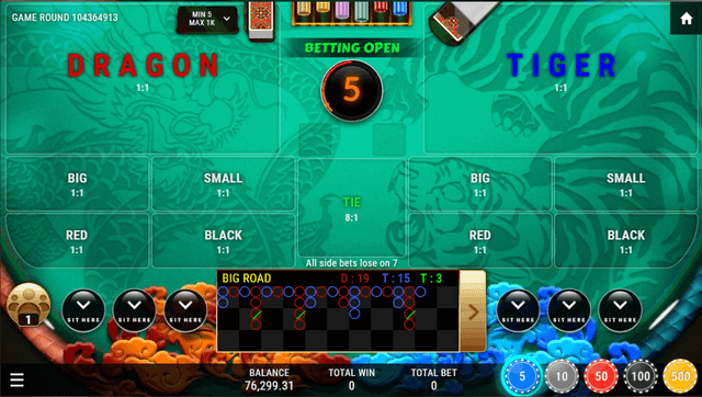 SBOTOP Live Casino  Dragon Tiger Multiplayer Table UI